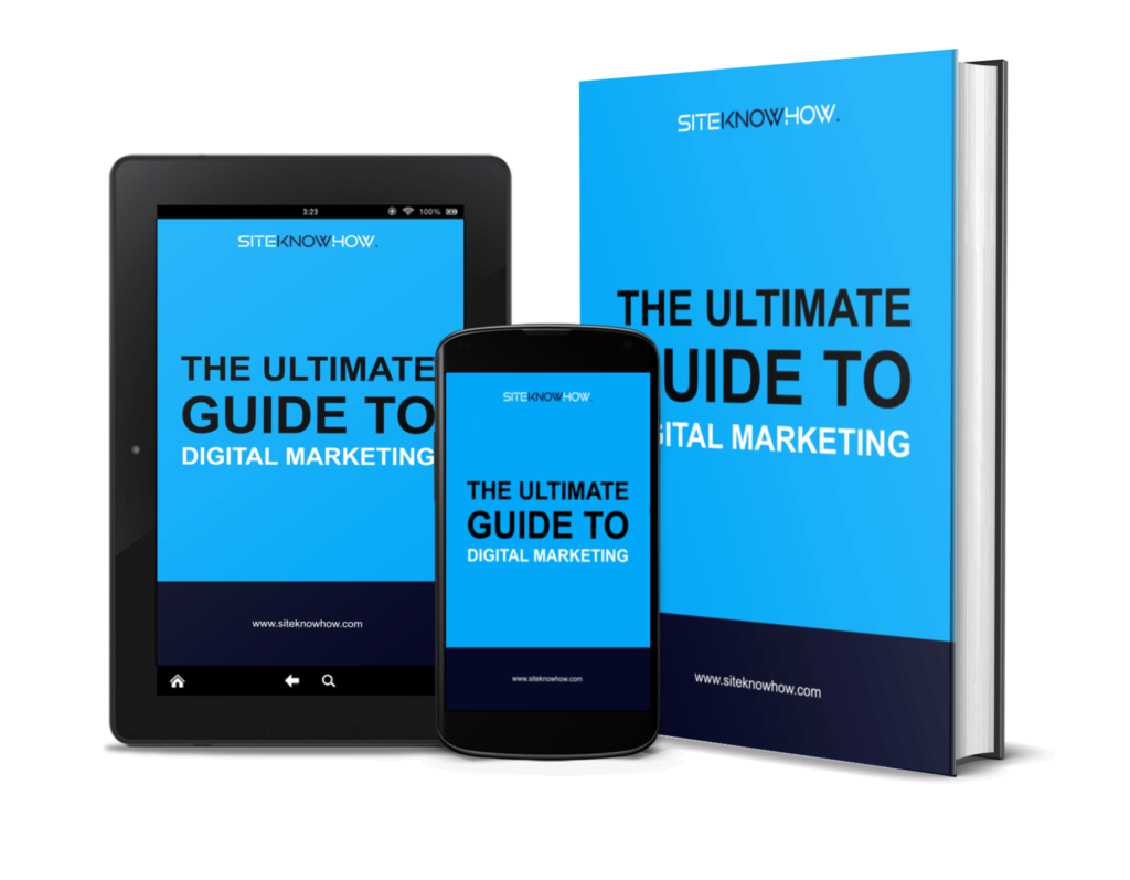 The ultimate guide to digital mareting e-book cover mockup on book, tablet and smartphone
