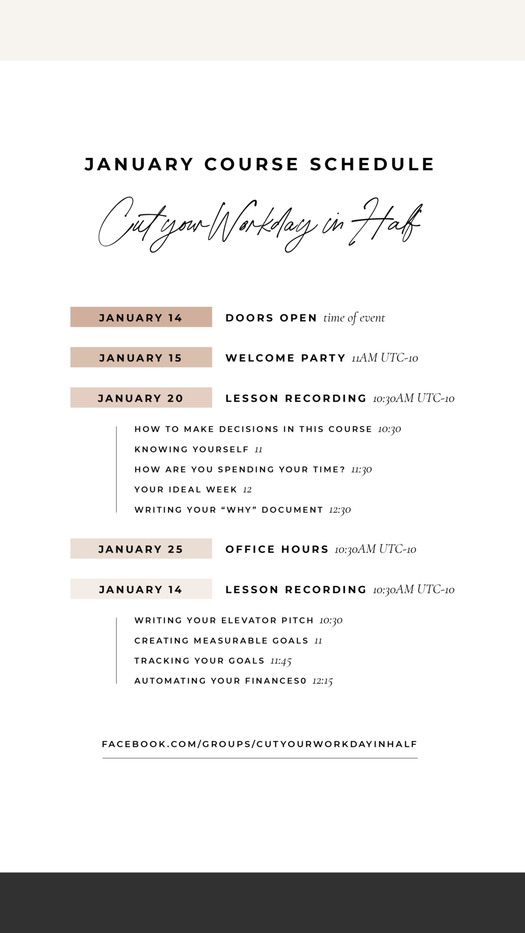 January Course Schedule