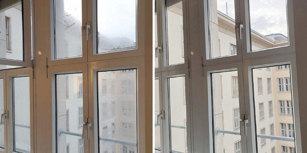 Bei unserer Glasreinigung / Fensterreinigung in der Hochschule in Berlin Schöneberg zeigt sich der Unterschied zu vorher und nachher deutlich.