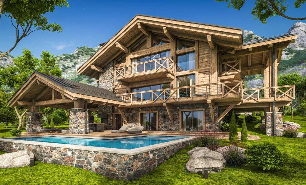 Devant un chalet de montagne avec une piscine