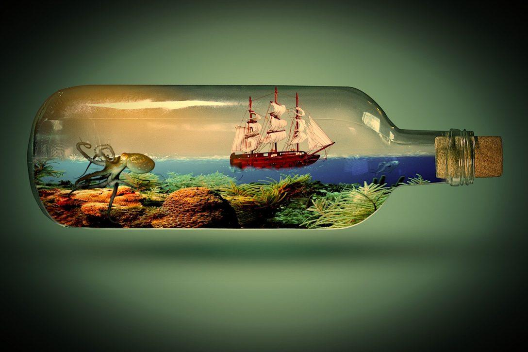 Entspannung durch Fantasiereisen - Flasche mit Fantasiewelt