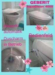 GEBERIT AquaClean 4000 Dusch-WC mit automatisch ausfahrendem Duscharm und der Deckel ist mit Absenkautomatik.
