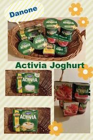 Danone Activia Joghurt - verschiedene Sorten in einem Korb