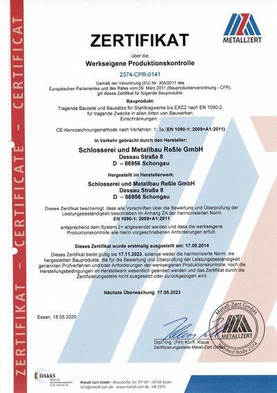 Metallbau Reßle Zertifikat Werkseigene Produktionskontrolle