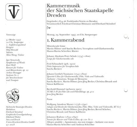 Programm Semper Oper