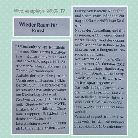 Presseartikel zum 4. Artroom 2017, erschienen im nWochenspiegel Märkische Allgemeine Zeitung