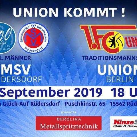 Sponsor des MSV Rüdersdorf - Spiel MSV gegen 1. FC-Union Berlin