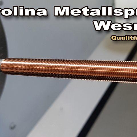 Berolina Metallspritztechnik - Bolzen mit Kupfer im Kaltgasverfahren gespritzt und anschließend Gewindegedreht