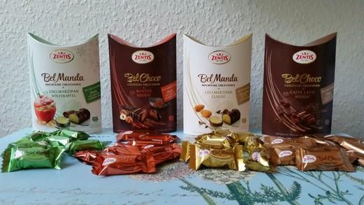 Unser Testpaket enthält: Bel Manda Edelmarzipan Winterapfel, Bel Choco Winter Nougat, Bel Manda Edelmarzipan classic, Bel Choco Caffe Latte Nougat