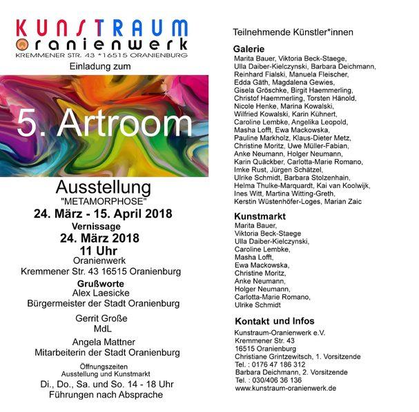 Kunstraum Oranienwerk e. V. lädt ein zum 5. Artroom vom 24.03. - 15.04.2018