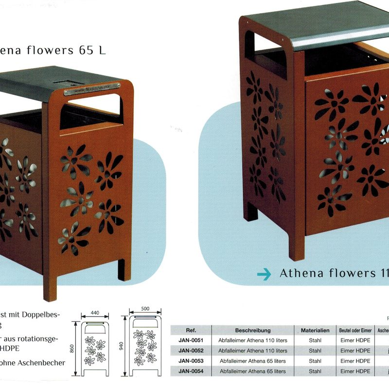 Papierkorb ATHENA FLOWERS, AB-JAN-0051 - AB-JAN-0054
