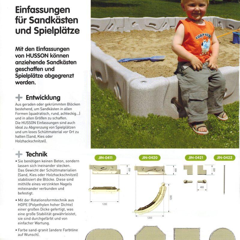 Einfassungen für Sandkästen und Spielplätze