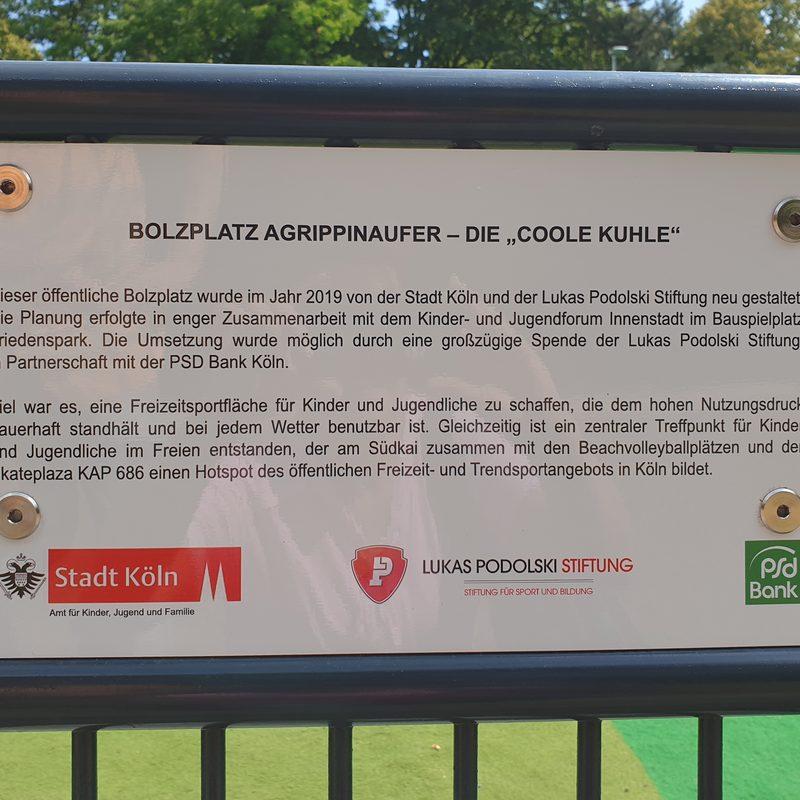 Einweihungsfeier in Köln, Bolzplatz Agrippinaufer, 05. Juli 2019