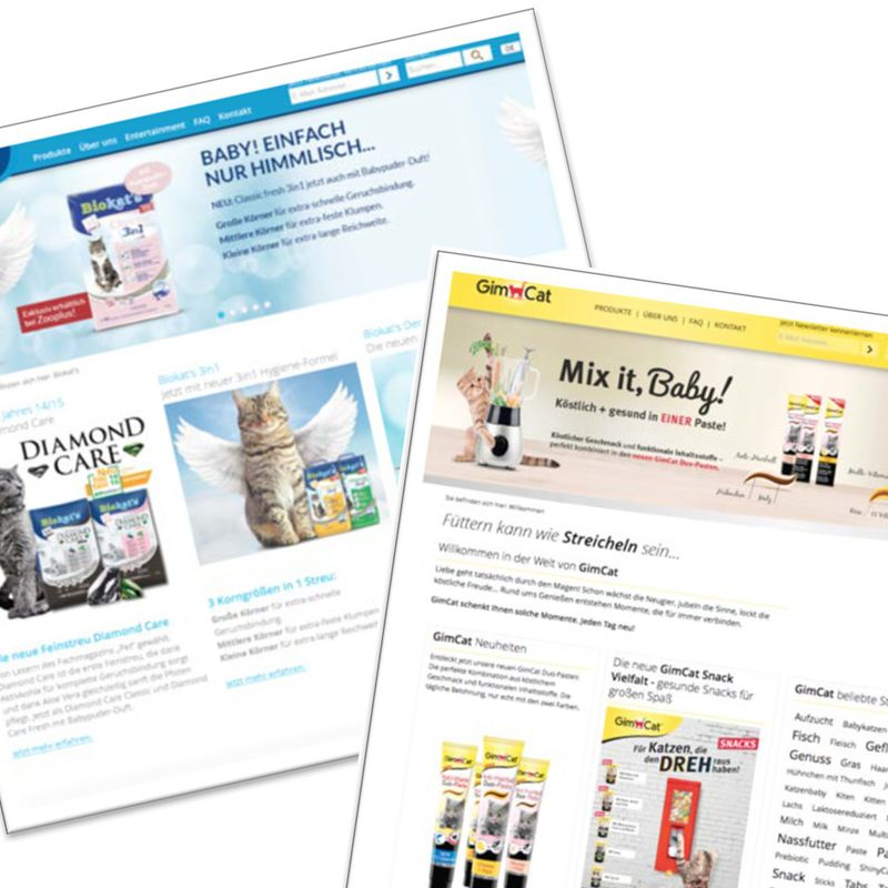 Gimborn | Biokat's, Gimpet. Produkt-Websites auf einer gemeinsamen Webarchitektur – Online-Werbemittel