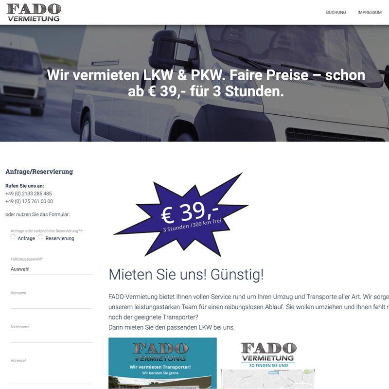Fado Autovermietung | Website mit Buchungstool für Leihfahrzeuge (WordPress)