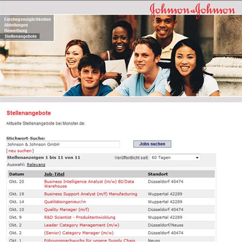 Johnson & Johnson | Company-Website mit HR-Tool