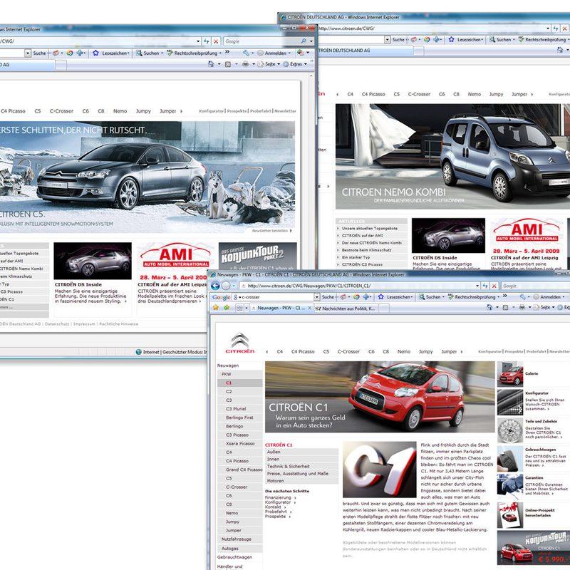 Citroën | Homepage, Händlerpages, Landingpages, Newsletter, Online-Werbemittel