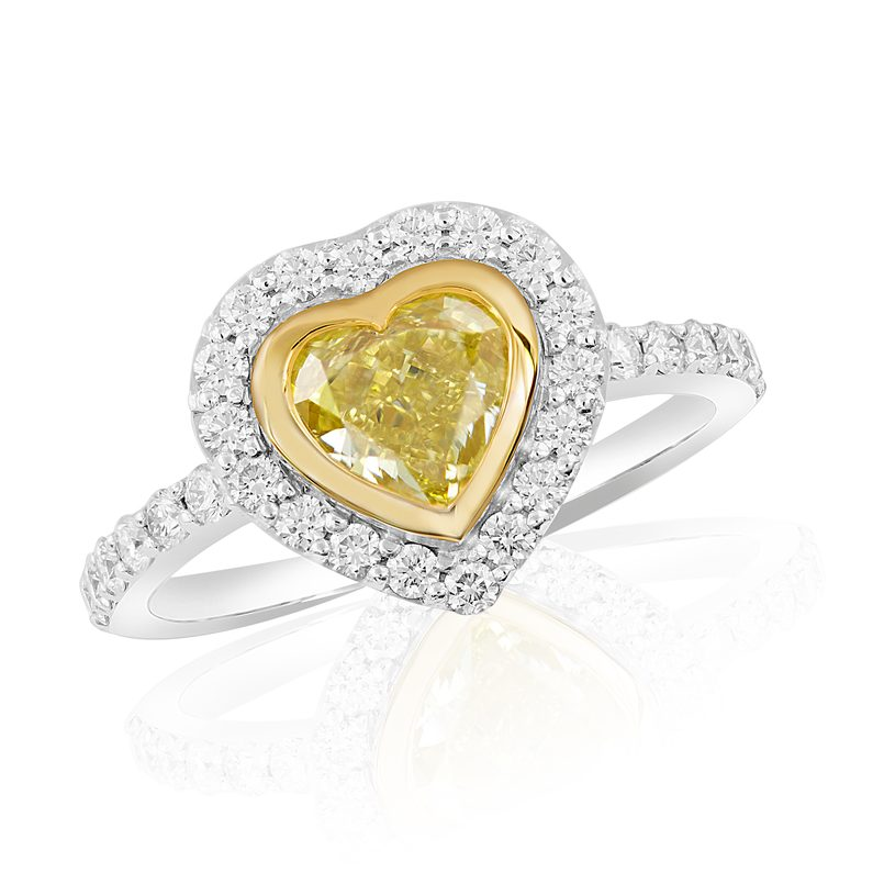 Ring in 750 Weiß-Gelbgold mit Fancy Yellow Diamant & Brillanten