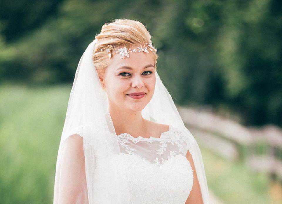 Hochzeitsfrisur mit Schleier